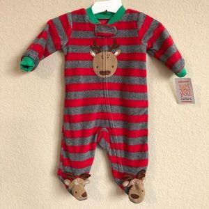 Carter's Reindeer Fleece Sleep N Play Romper NWT